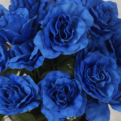 96 GIANT Silk Open Rose - Royal Blue