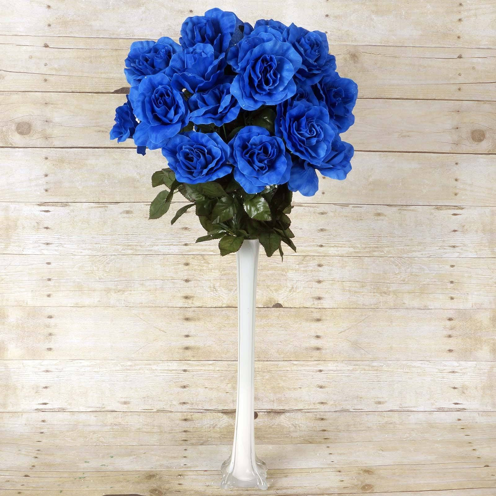 96 Artificial Royal Blue Giant Silk Open Roses Wedding Bridal ...