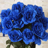 96 Artificial Giant Silk Open Roses - Royal Blue
