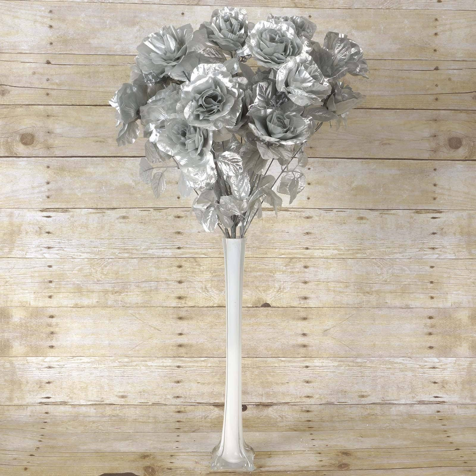 96 Artificial Silver Giant Silk Open Roses Wedding Bridal Bouquet ...