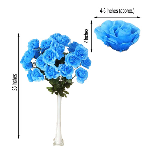4 Bush 96 Pcs Turquoise Artificial Giant Silk Open Rose Flowers