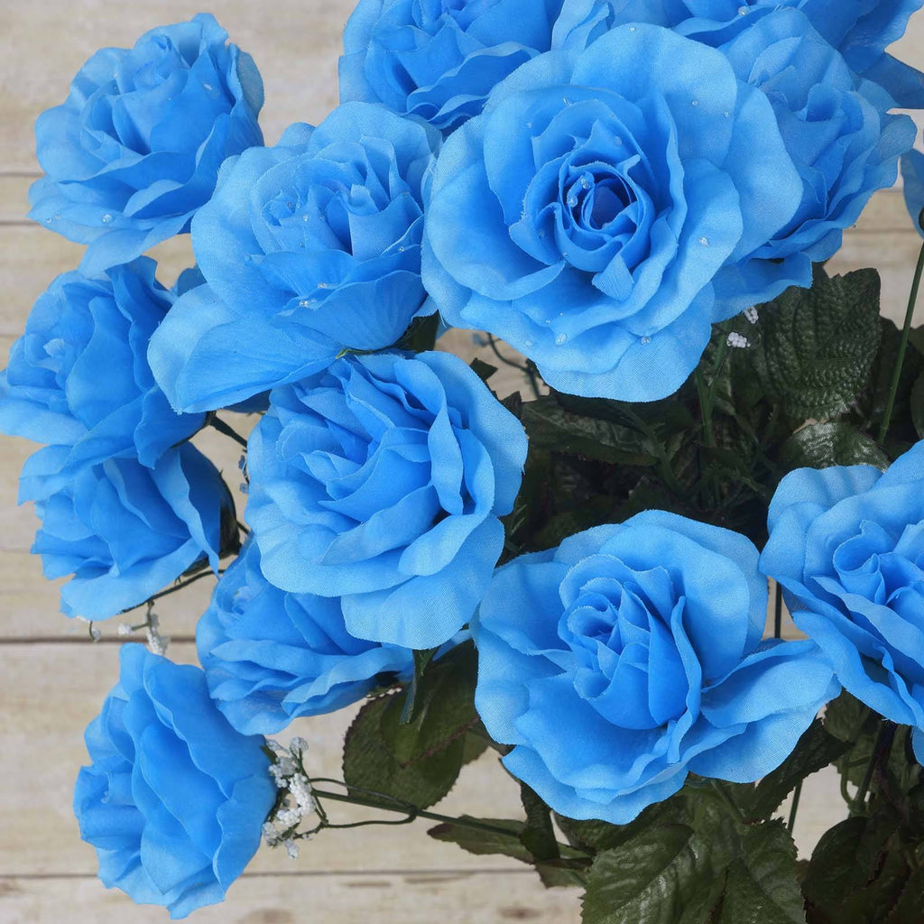96 GIANT Silk Open Rose - Turquoise