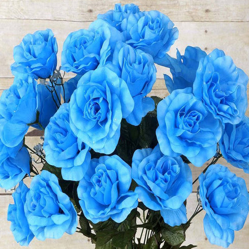 96 Artificial Giant Silk Open Roses - Turquoise