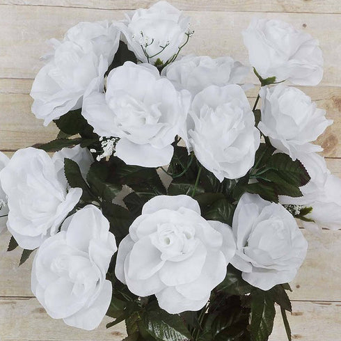 96 Artificial Giant Silk Open Roses - White