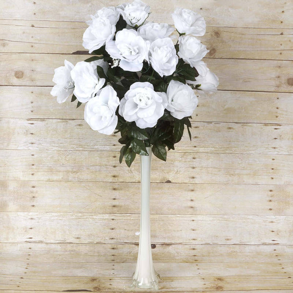 4 Bush 96 Pcs White Artificial Giant Silk Open Rose Flowers