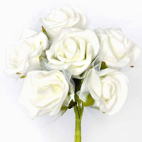 12 Pack Cream Artificial Premium Silk Rose Flower Bridal Bouquet