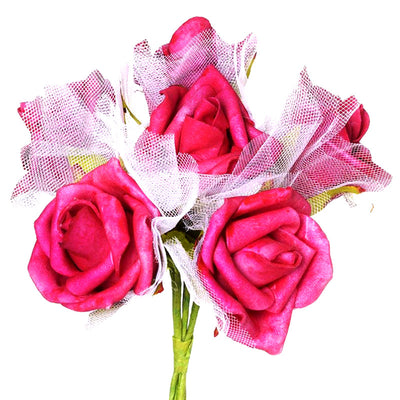 12 Pack Fuchsia Artificial Premium Silk Rose Flower Bridal Bouquet