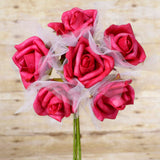 12 Pack 72 pcs Fushia Artificial Foam Rose Flowers Wedding Bridal Bouquet