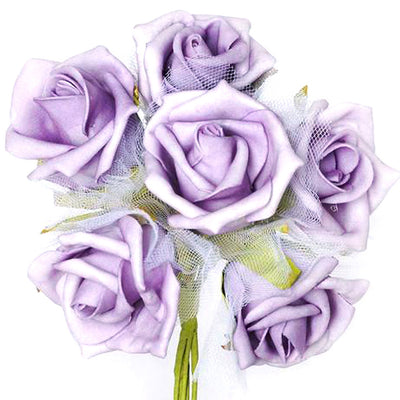 12 Pack Lavender Artificial Premium Silk Rose Flower Bridal Bouquet