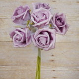 12 Pack 72 pcs Lavender Artificial Foam Rose Flowers Wedding Bridal Bouquet