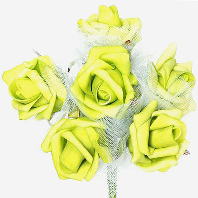 12 Pack Lime Green Artificial Premium Silk Rose Flower Bridal Bouquet