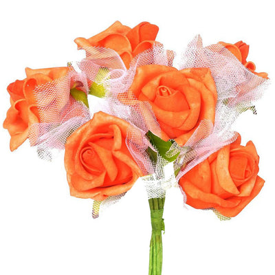12 Pack Orange Artificial Premium Silk Rose Flower Bridal Bouquet