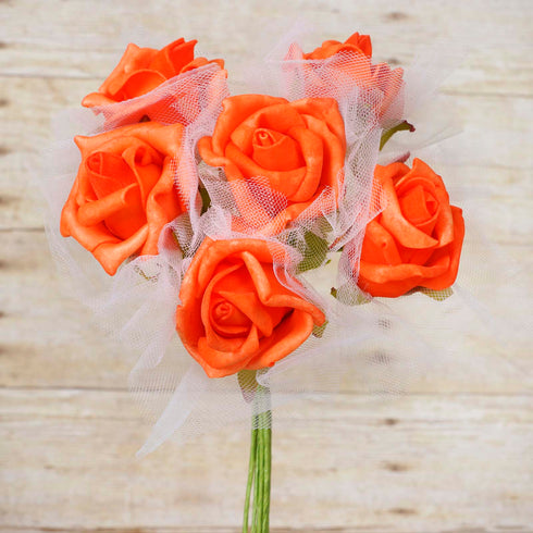 12 Pack 72 pcs Orange Artificial Foam Rose Flowers