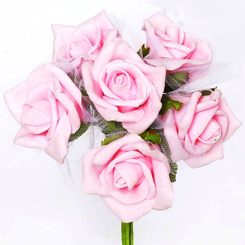 12 Pack Pink Artificial Premium Silk Rose Flower Bridal Bouquet