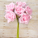 12 Pack 72 pcs Pink Artificial Foam Rose Flowers