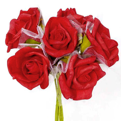 12 Pack Red Artificial Premium Silk Rose Flower Bridal Bouquet