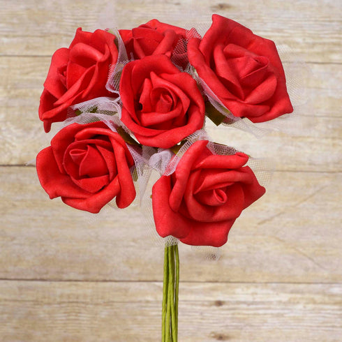 12 Pack 72 pcs Red Artificial Foam Rose Flowers