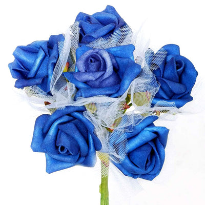 12 Pack Royal Blue Artificial Premium Silk Rose Flower Bridal Bouquet