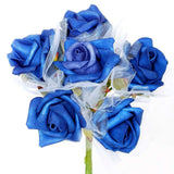 72 Artificial Premium Silk Rose Flowers wedding Bouquet Vase Centerpiece Decor - Royal Blue