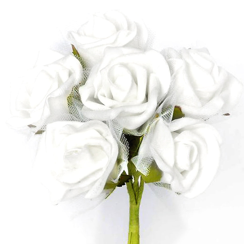 72 Artificial Premium Silk Rose Flowers Bouquet - White | eFavorMart