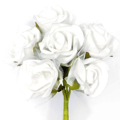 12 Pack White Artificial Premium Silk Rose Flower Bridal Bouquet