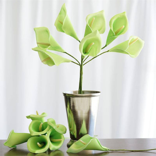 6 Bush 42 Pcs Lime Artificial Calla Lilies Flowers