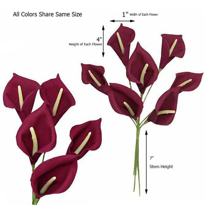 6 Bush 42 Pcs Royal Blue Artificial Calla Lilies Flowers