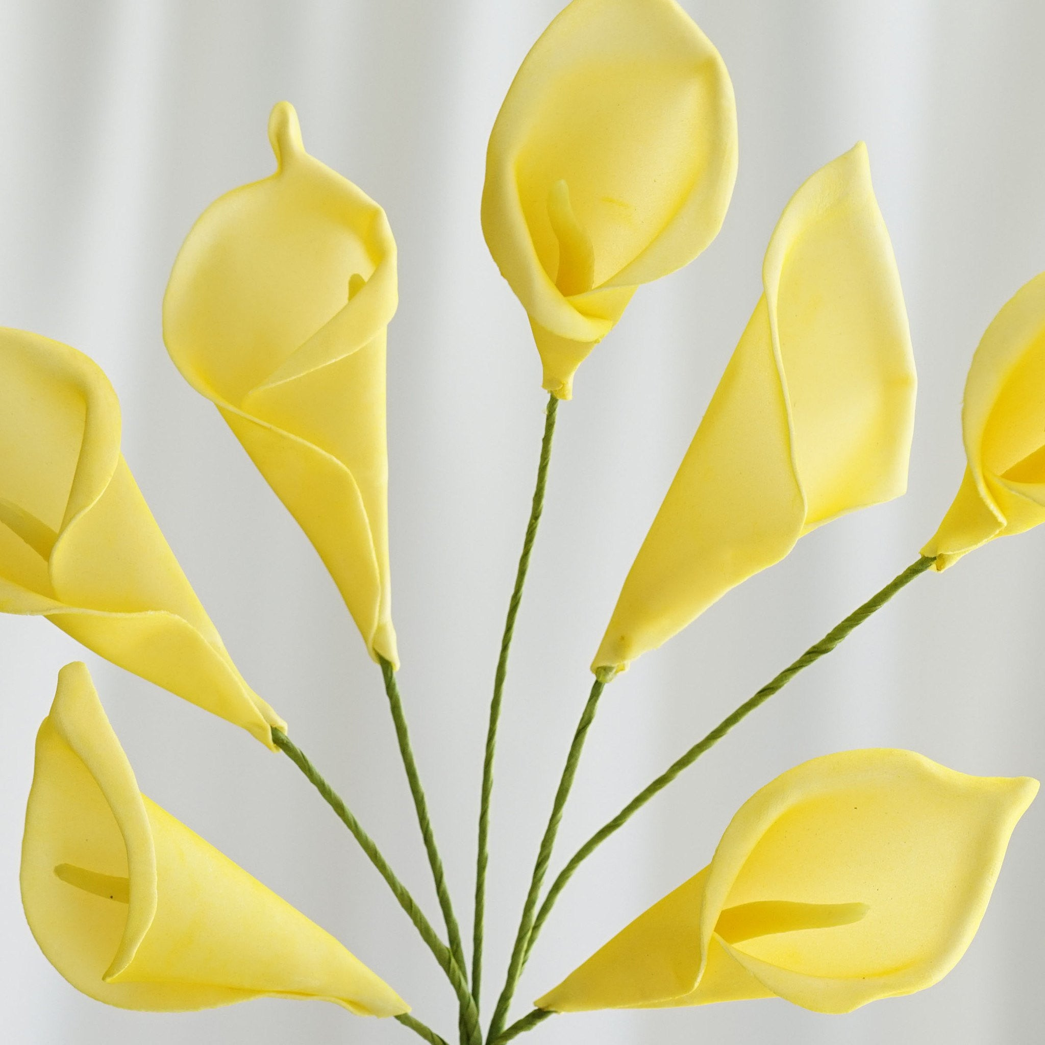 6 Bush 42 Pcs Yellow Artificial Calla Lilies Flowers Wedding Vase ...