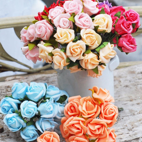 6 Pack 72 Pcs Turquoise Artificial Foam Rose Flowers