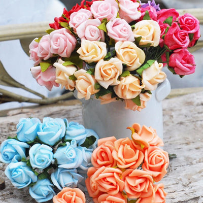 6 Pack 72 Pcs Fushia Artificial Foam Rose Flowers