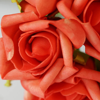 6 Pack Coral Artificial Silk Roses Flower Bridal Bouquet