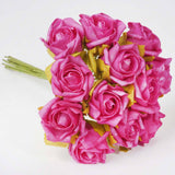 72 x Blooming Silk Rose Buds - Fushia
