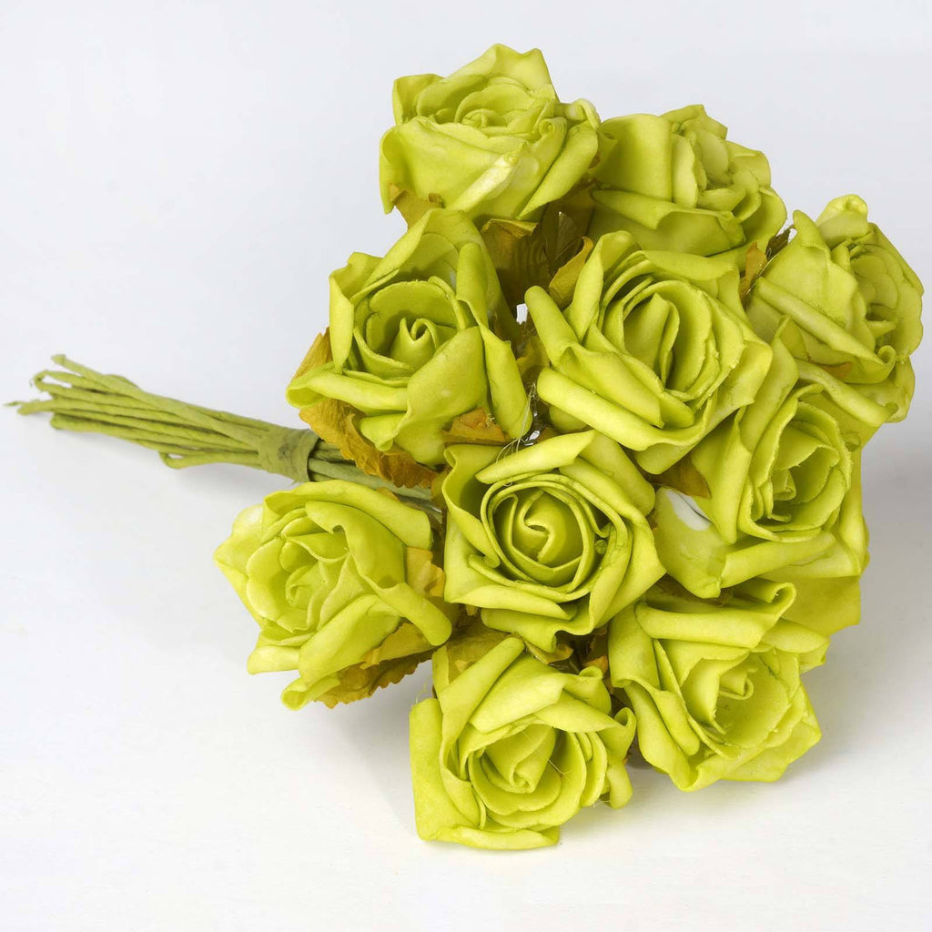 72 x Blooming Silk Rose Buds - Lime