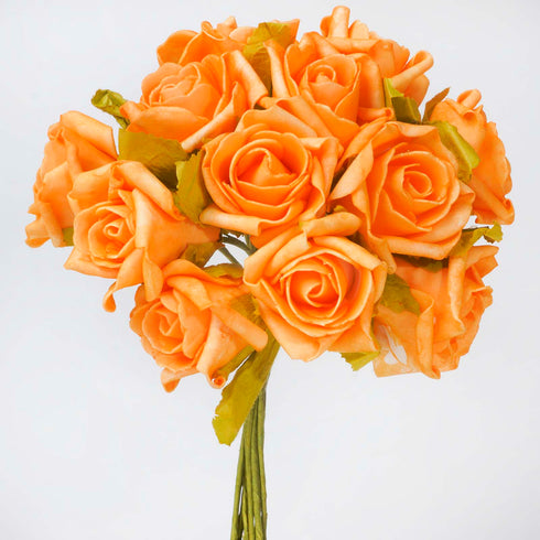 6 Pack 72 Pcs Orange Artificial Foam Rose Flowers