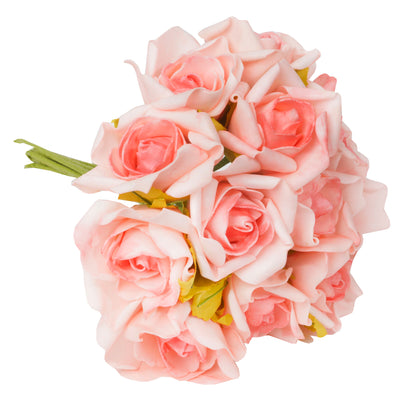 6 Pack 72 Pcs Pink Artificial Foam Rose Flowers Bridal Bouquet Wedding Decoration