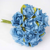 72 x Blooming Silk Rose Buds - Turquoise