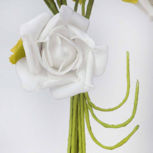 72 x Blooming Silk Rose Buds - White