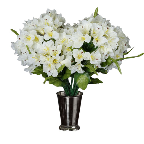 150 Artificial Oriental Lily Flowers Bush - Cream