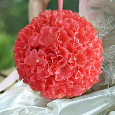 4 Pack Coral Hydrangea Kissing Flower Balls