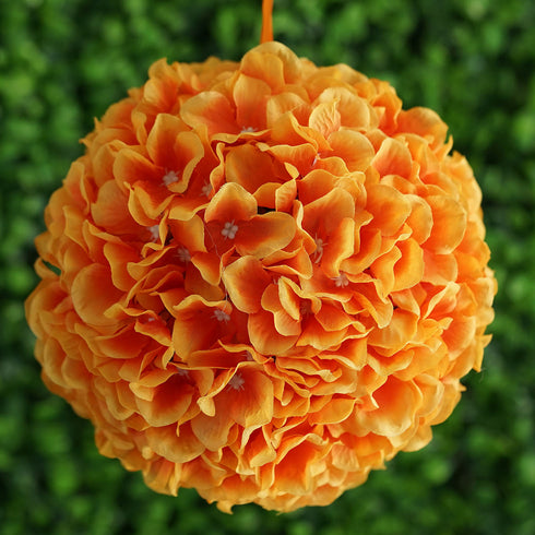 "4 Pack 7"" Orange Silk Hydrangea Kissing Flower Balls"