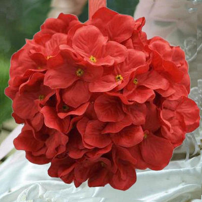 4 Pack 7 Red Silk Hydrangea Kissing Flower Balls Efavormart