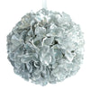 "4 Pack 7"" Silver Silk Hydrangea Kissing Flower Balls#whtbkgd"