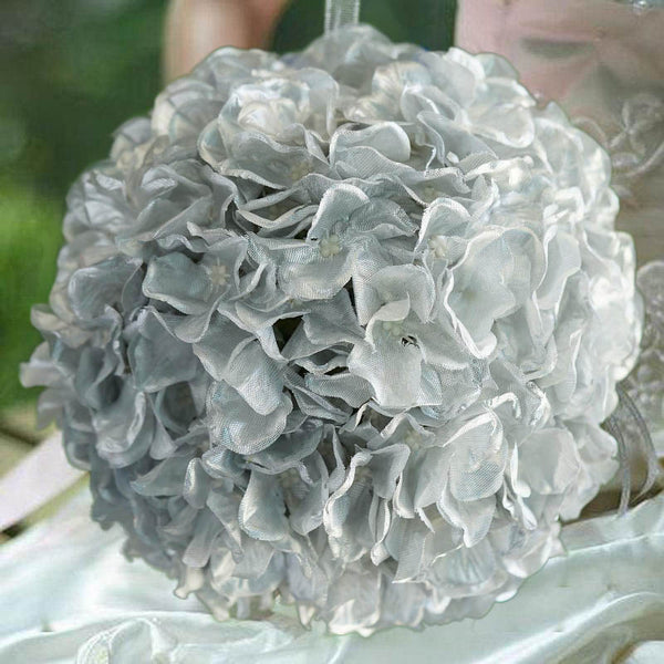 "4 Pack 7"" Silver Silk Hydrangea Kissing Flower Balls"