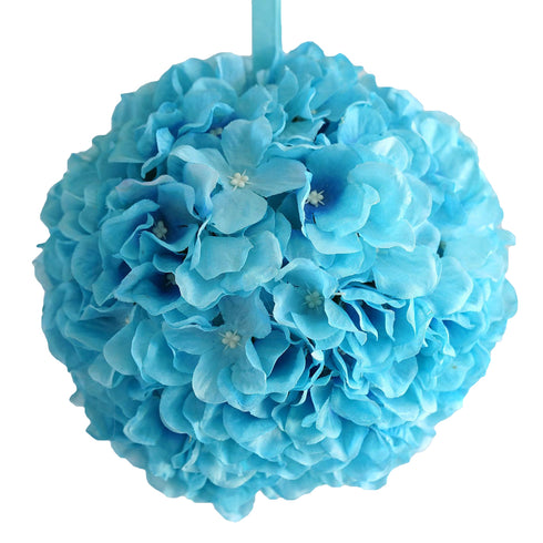 "4 Pack 7"" Turquoise Silk Hydrangea Kissing Flower Balls"