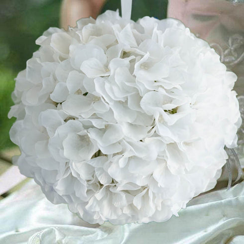 4 Pack White Hydrangea Kissing Flower Balls