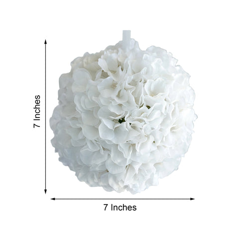 "4 Pack 7"" White Silk Hydrangea Kissing Flower Balls"