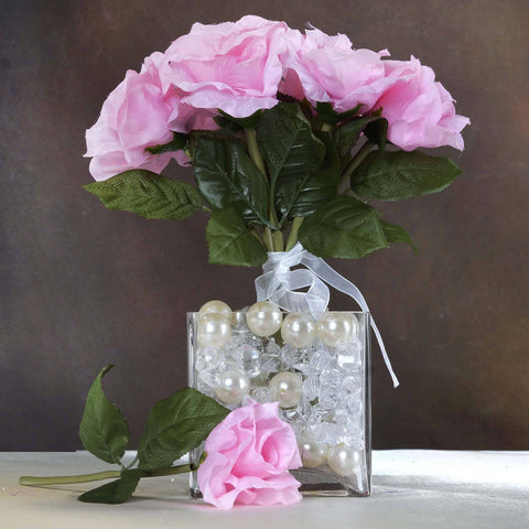 6 Artificial Open Roses Bouquet Wedding Vase Centerpiece Decor - Pink