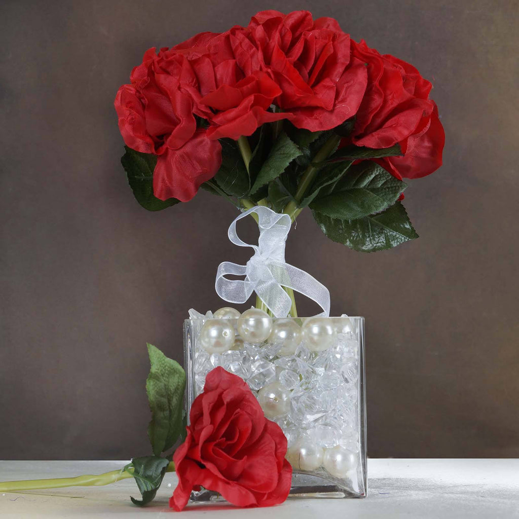 6 Artificial Open Roses Bouquet Wedding Vase Centerpiece Decor - Red