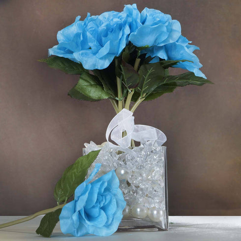 6 Pack Turquoise Artificial Open Roses Flower Bridal Bouquet