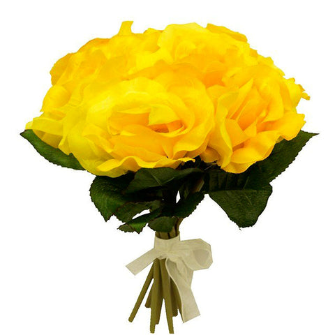 6 Artificial Open Roses Bouquet Wedding Vase Centerpiece Decor - Yellow